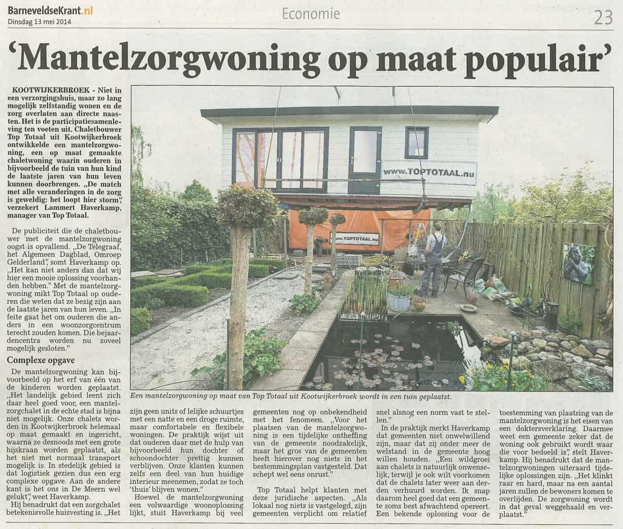 Barneveldse Krant Mantelzorgwoning op maat populair