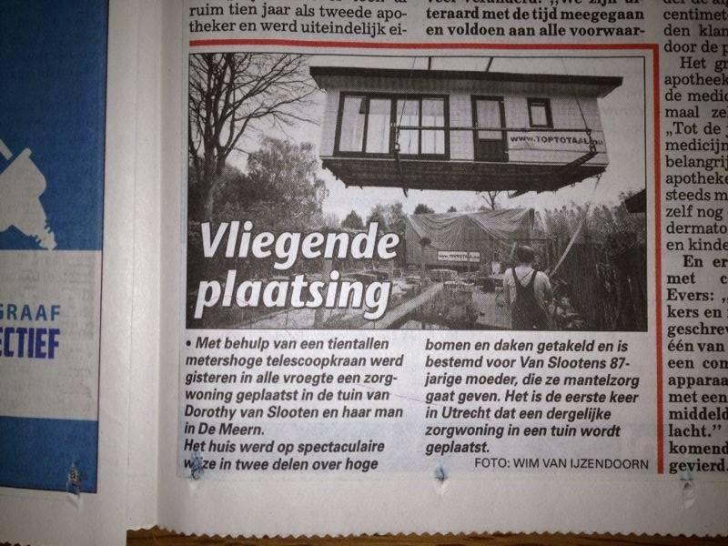 Telegraaf / eerste zorgwoning in Utrecht